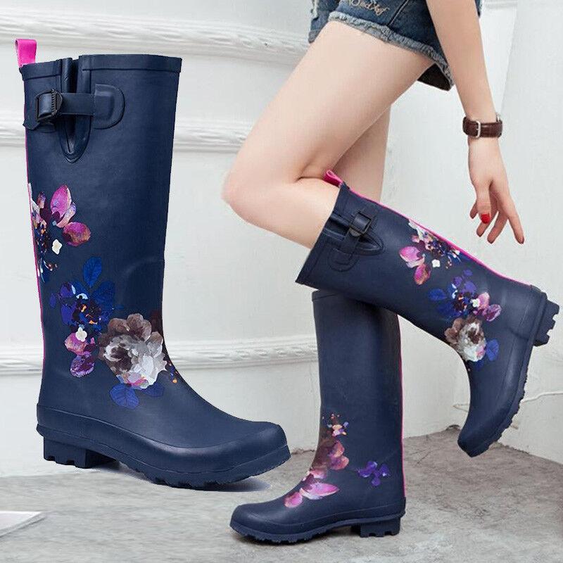 Sweet Womens Knee Mid High Tall Slim Fit Knee High Boot Flower Rainboot shoes
