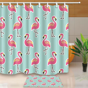 Image Is Loading Pink Flamingo Bathroom Shower Curtain Waterproof Fabric 12