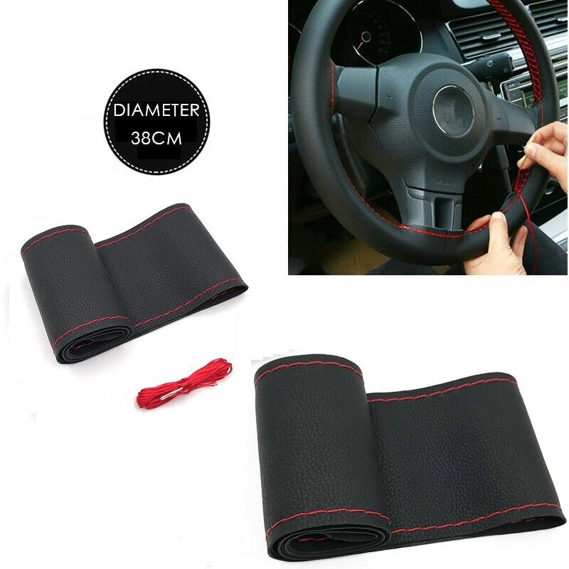 New Black Genuine Leather DIY Car Steering Wheel Cover With Needles and Thread