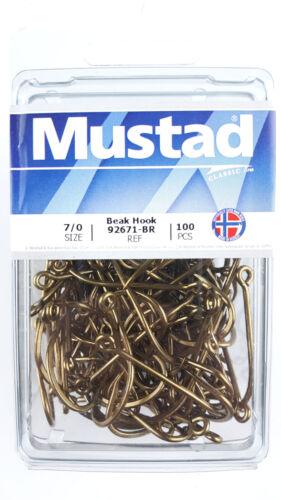 #67 size: 7//0, qty: 100 hooks Mustad 92671-BR Bronze Beak Hook