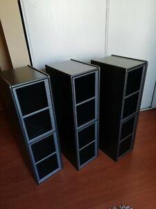 lot de trois meubles de bureau range cd/dvd/cd-rom
