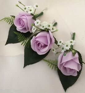 Image Is Loading 3x Wedding Flower Bridal Silk Purple Rose On