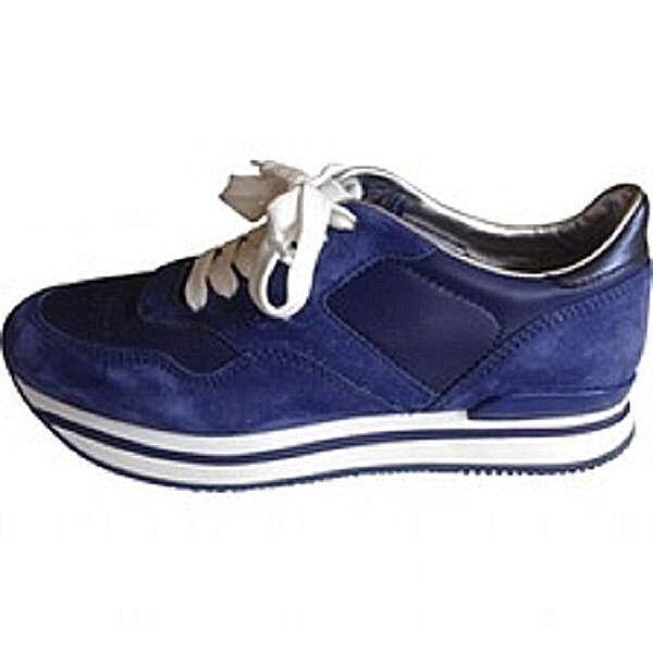 Celebrity  HOGAN TODS piattaforma cuscinetti a forma piatta scarpe da ginnastica blu 37 US 6.5  presa