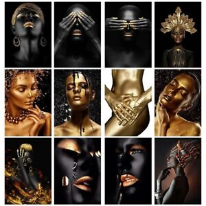 Oil Painting on Canvas African Art Black and Gold Woman Wall Art Picture Poster