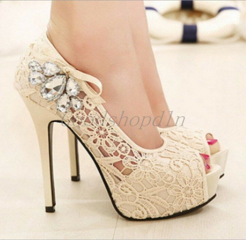 Ladies rhinestone lace wedding shoes high heels platform pumps for women 7866