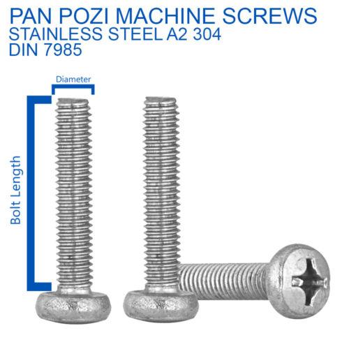 M4 M5 M6 POZI PAN HEAD SCREWS MACHINE SCREWS A2 STAINLESS STEEL DIN 7985