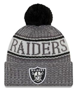 8891d50e5 New Era Official Oakland Raiders Grey Bobble Hat Beanie With Pom NFL ...