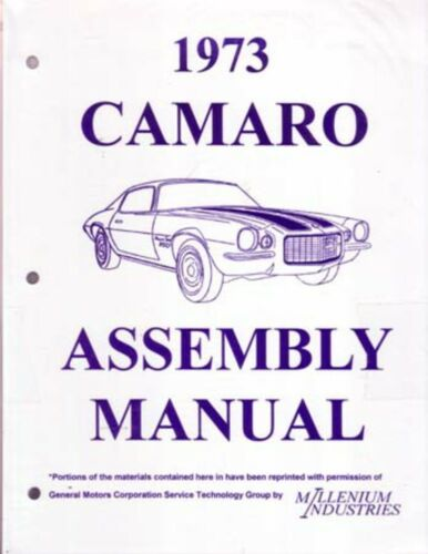 1973 Chevrolet Camaro Assembly Manual Book Rebuild Instructions Illustrations