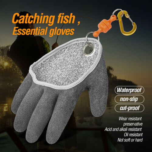 Waterproof Fishing Left Right Hand Fishing Gloves Anti-Slip with Magnet Release