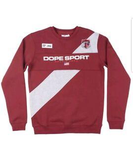 DOPE-Sport-Bougie-Crew-nationalen-AUF-SEE-MUNITIONSKISTE-Sweatshirt-Pullover-Herren-Burgund-grosse