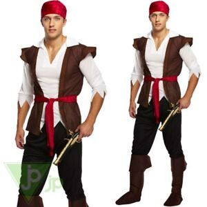 d2233532bb8 Details about Mens Caribbean Pirate Captain Fancy Dress Costume Adult Outfit