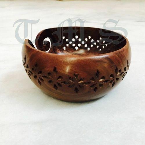 Premium Wooden Yarn Bowl Rosewood Knitting Holes Storage Crochet Carving Craft