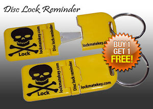 Yellow-Metal-Tip-Disc-lock-reminder-Motorcycle-Accessories-By-Lock-Mate-Key