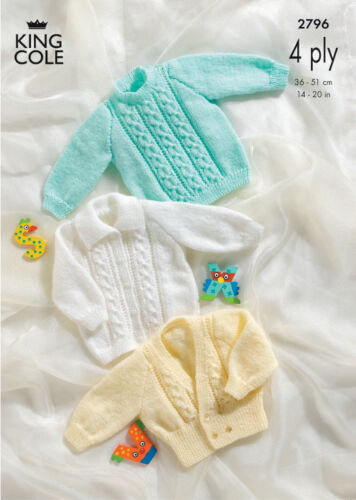 4 Ply Knitting Pattern King Cole Kids Cable Knitted Cardigan Sweater Jacket 2796