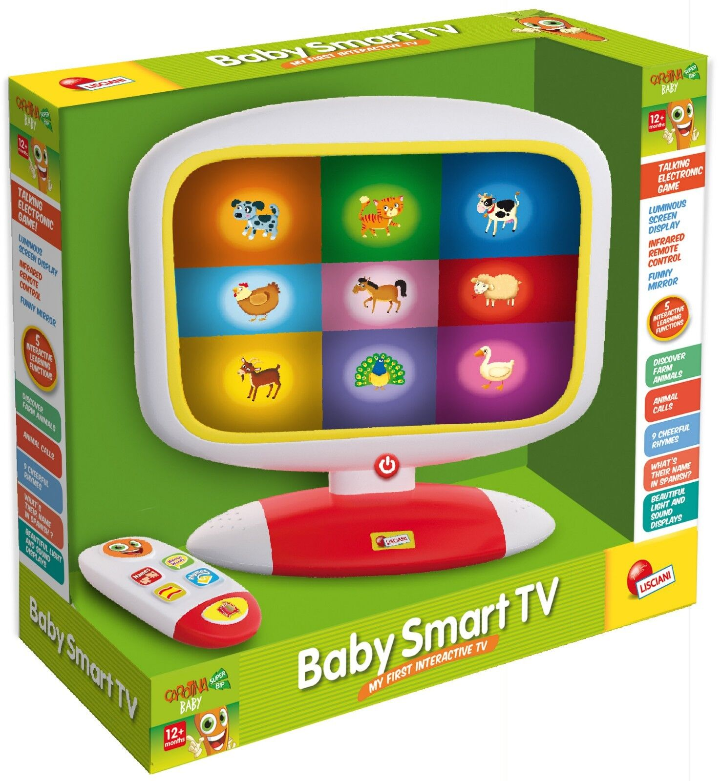 Baby Smart TV Interactive TV with Remote Animal Rhymes Caredina by Lisciani