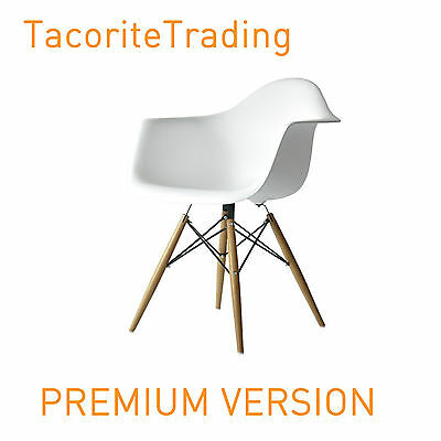 WHITE Eames Eiffel style DAW Dining Chair Armchair wood wooden Lounge Seat Retro