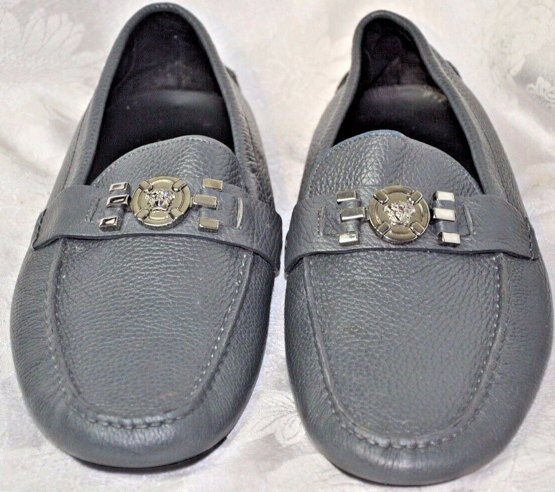 VERSACE COLLECTION MEN'S LEATHER LOAFERS MOCCASINS GREY DSU5630