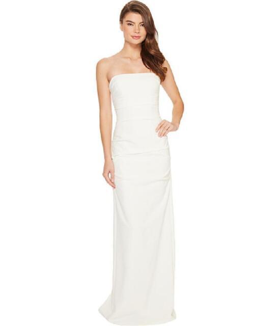 Nicole Miller Felix Techy Crepe Strapless White Bridal Wedding Gown ...