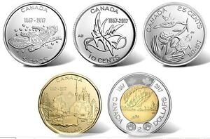150th-Anniversary-Birth-of-Canada-2017-Complete-Non-Coloured-5-Coins-Mint-Set