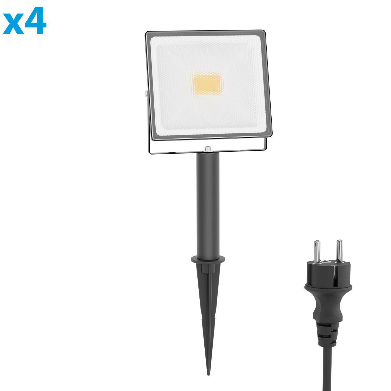LED Außenstrahler FLIN mit Erdspieß, 15cm Sockel & Stecker für außen schwarz 30W