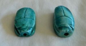 2-Ceramic-Egyptian-Scarab-Lucky-Charms-Blue-Unique