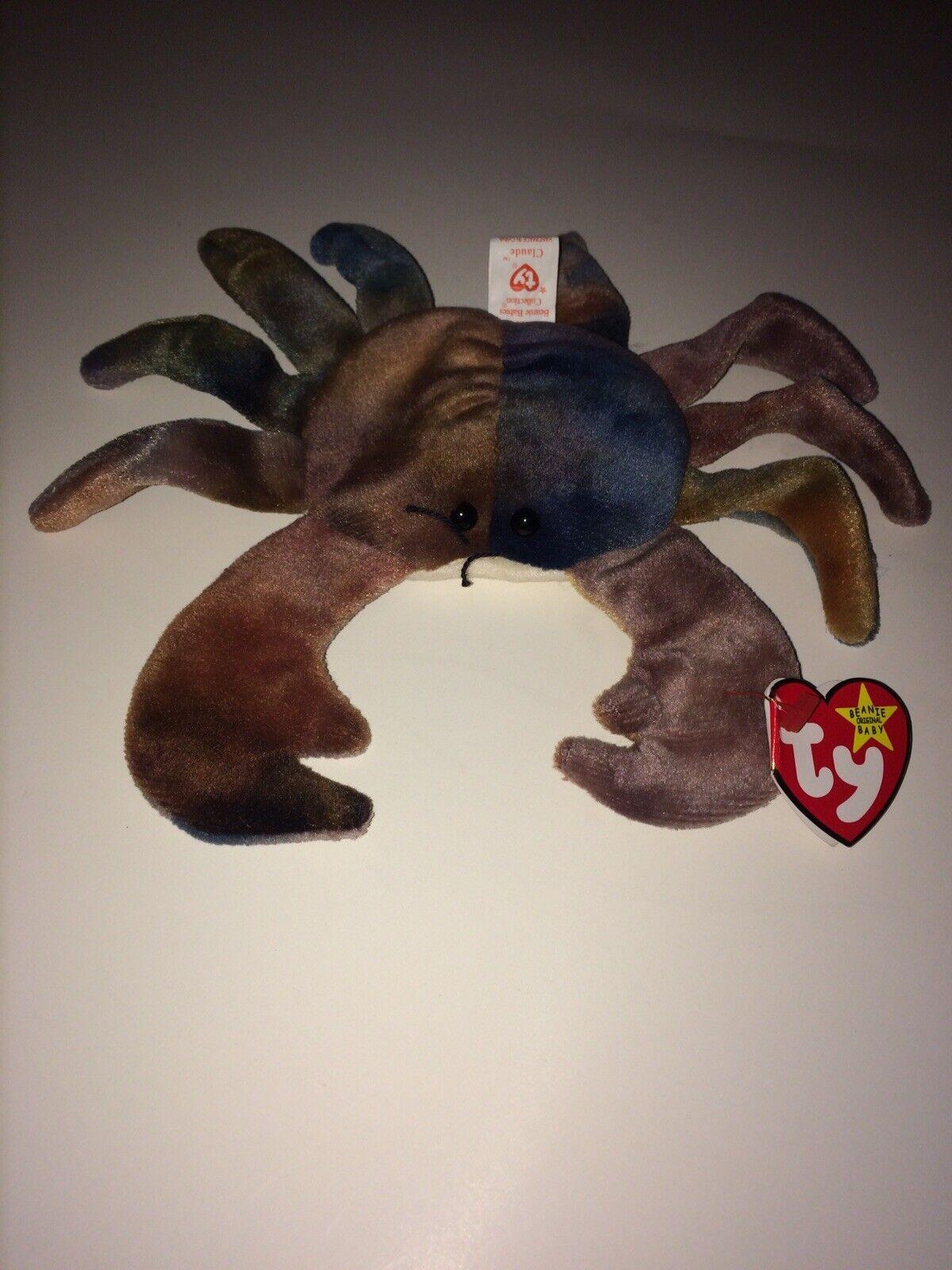 Mycket sällsynta Ty Beanie Babies Claude (crab) 1996 Pensionerad P.E. Pellets Många Error