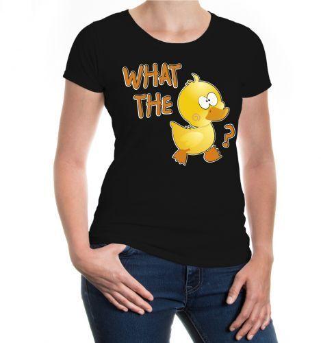 Damen Kurzarm Girlie T-Shirt What the D... Ente duck Kücken Wassertier