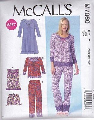 McCALL'S SEWING PATTERN MISSES' NIGHT TOPS DRESS SHORTS PANTS  XSM - XXL  M7060
