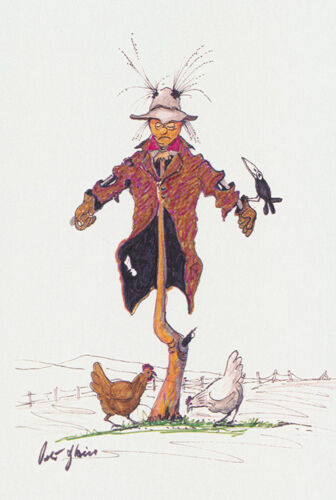 Greeting card of a Scarecrow chooks and a crow by artist PJ Hill and Cloud Publi