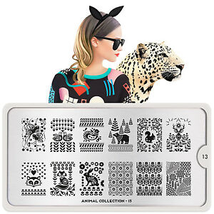 MoYou-London-ANIMAL-13-Collection-Stamping-Schablone-Fuchs-Hase-Baer-Blume-Vogel