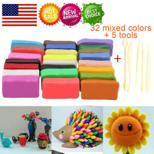 Children 32 Mixed Color Set Oven Bake Fimo Polymer Soft Clay Modelling DIY Toys