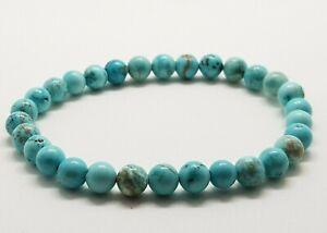 Blue Turquoise Bracelet Round Beads Gemstone Crystal Healing Stone 6mm Yoga