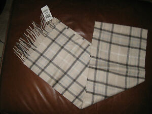 CHARTER CLUB CASHMERE SCARF EXPLODED PLAID TAN BROWN GRAY IVORY FRINGE NWT