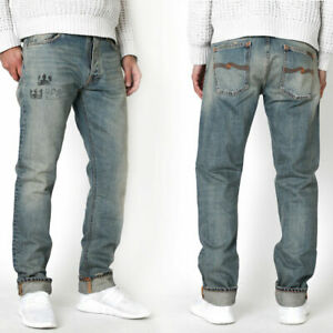 Nudie Mens Jeans-Trousers Regular Straight Fit Small Defects Organic Cotton
