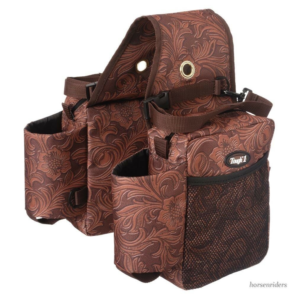 Western Saddle Bags - Gear Carrier -Bottle Holder - Brown  Tooled Leather Print  high quality genuine