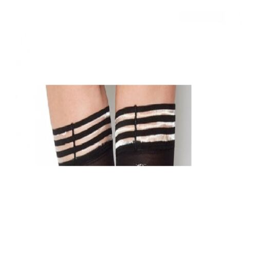 Soft Opaque Hold Ups With 3 Bands Silicone Top Stay Up Holdup Stockings Black