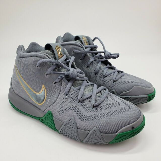 Nike Kyrie 4 GS Cool Grey White Green Gold Basketball Shoes AA2897-001 7Y Youth