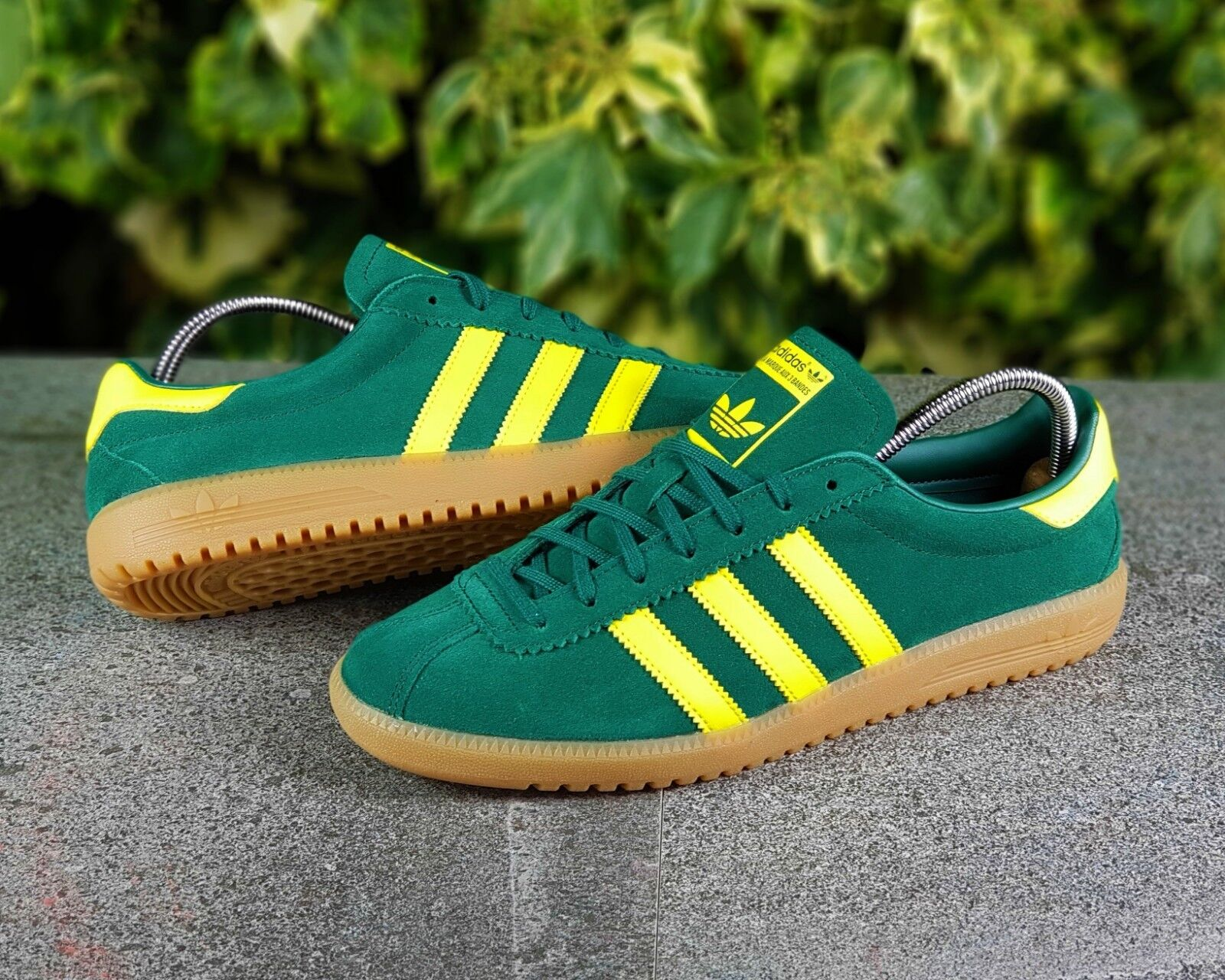 BNWB & Genuine Adidas Originals ® Bermuda Grün Suede Retro Trainers UK Größe 7