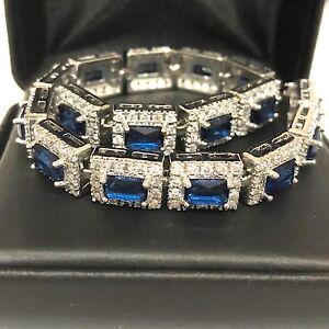 Shinning-Blue-Sapphire-Diamond-Halo-Tennis-Bracelet-14K-White-Gold-Plated