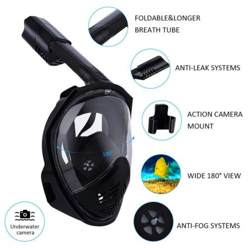Details about  /Anti-Fog Anti-Leak Full Face Snorkel Mask 180° Panoramic View Snorkeling Mask