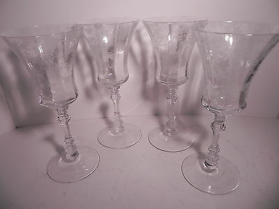 "Cambridge Glass Rose Point Etch 4 Water Goblets 8-3/8"" Stem 3500 9oz MINTY COND!"