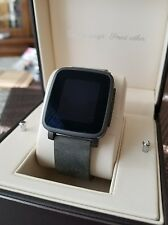 Pebble Time Steel 38mm for iOS and Android Black Stainless Steel Case Leather