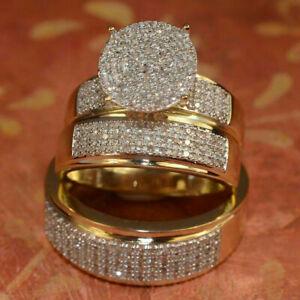 14K-Yellow-Gold-Fn-Diamond-Bridal-Engagement-Ring-His-Her-Trio-Wedding-Band-Set