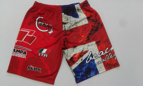 FOOTEX Pantaloncino Beach Volley INGHILTERRA UK Made in Italy Colore Rosso