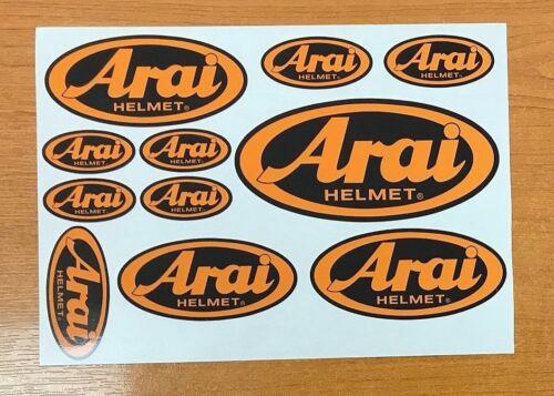 Arai decal set 11 Orange on Black quality printed and laminated helmet stickers