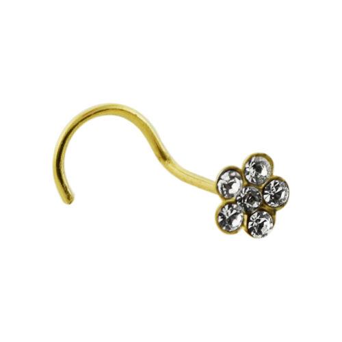 22 g 9K Solide Or jaune Crystal Jeweled Fleur Nez Stud vendu par pièce seulement
