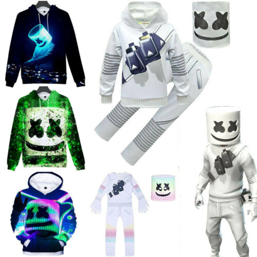 DJ Marshmallow Kid Cosplay Costume Hoodie Sweatshirt Outfit Jumpsuit Fancy Dress