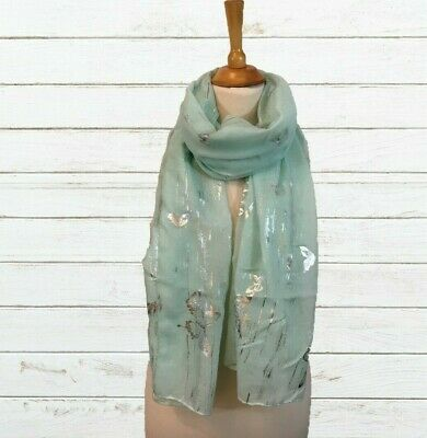 Ladies Scarf Pashmina French Pale Blue Silver Foil Butterfly Print Wrap Shawl