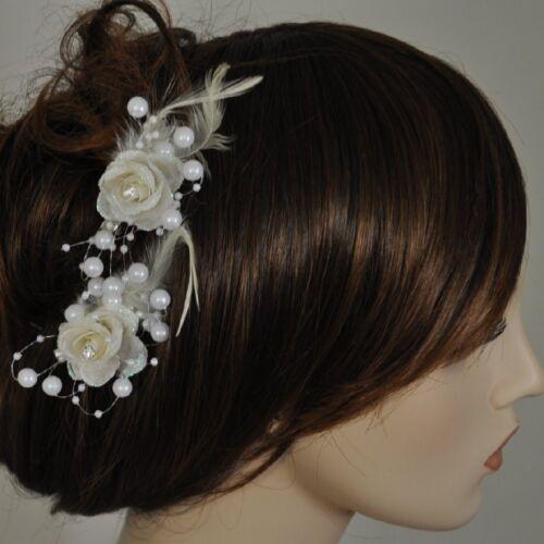 Pince à Cheveux Fleur Perles Strass Plumes Parure pour Jeune Mariée Plusieurs