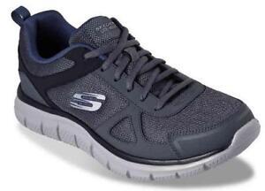 2b53bba16982e SKECHERS Men's Shoes Track Gray+Blue Athletic Sneakers Memory Foam ...